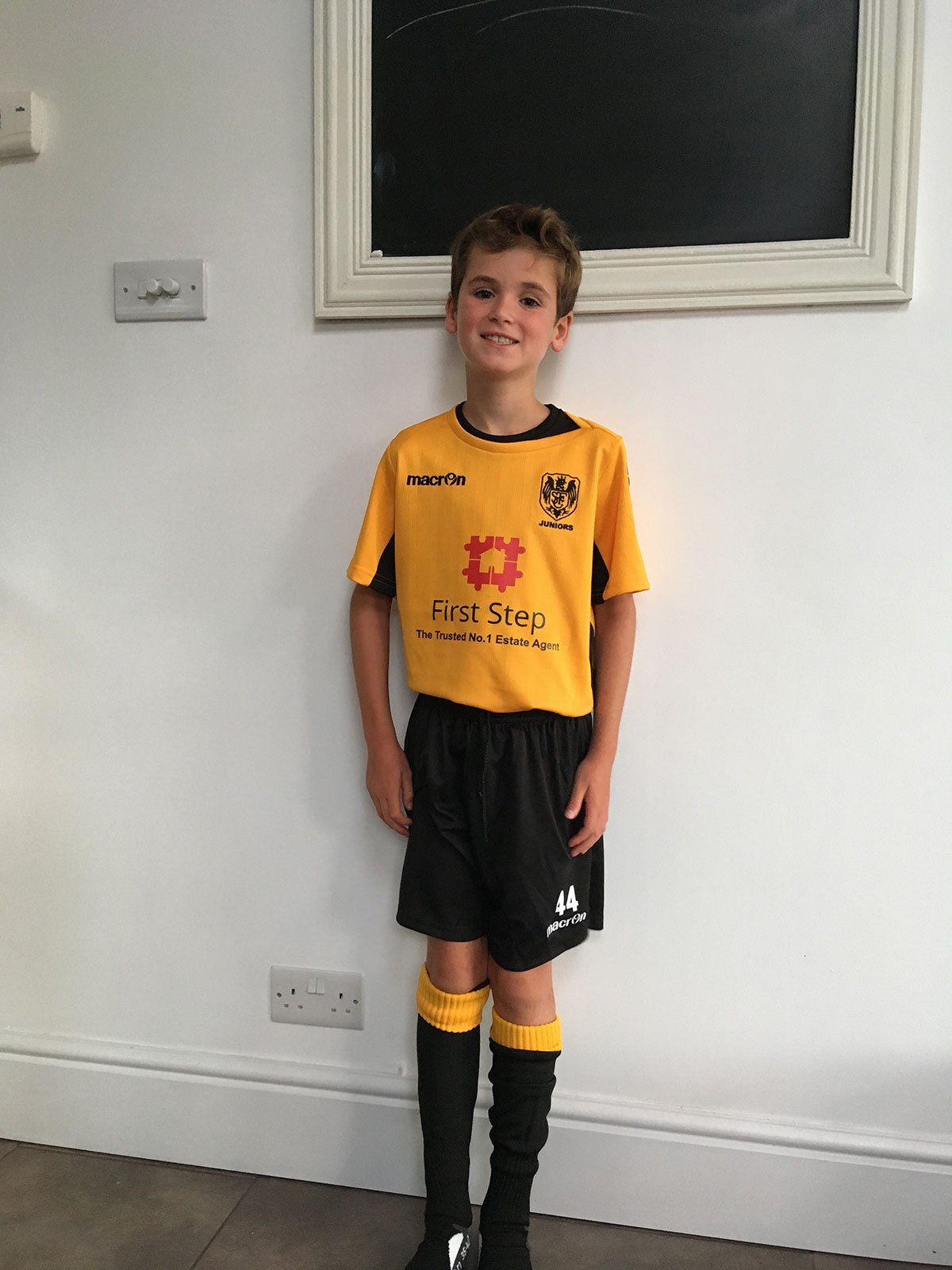 Ben modelling the new kit for the team